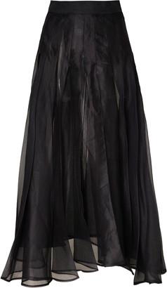 A.W.A.K.E. Mode Pleated Chiffon Midi Skirt