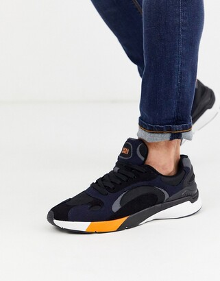 Jack and Jones contrast panel runner trainers in navy