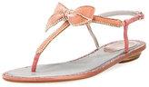 Rene Caovilla Crystal-Trim Velvet Bow Flat Sandal, Pink Pattern