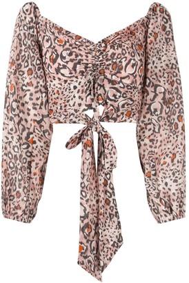 SUBOO Uma leopard print backless tie top