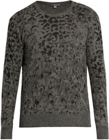 John Varvatos Leopard-jacquard wool and cashmere-blend sweater