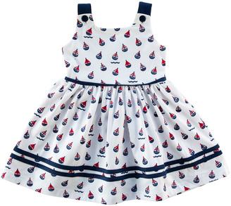 Florence Eiseman Girl's Sailboat-Print Sleeveless Self-Tie Dress, Size 2-6X