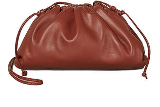 Bottega Veneta Mini Leather Pouch Clutch Crossbody Bag in Rust & Gold | FWRD