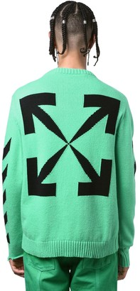 Off-White Diagonal Stripes Cotton Knit Sweater