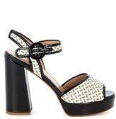 Twin-Set Sandal With Black And Beige Raffia Heel And Black Patent Leather