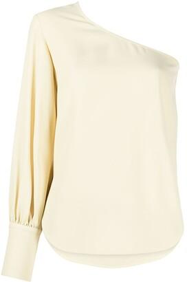 Erika Cavallini One-Shoulder Draped-Sleeve Blouse