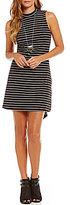 Takara Striped Button-Back Mock Neck Sheath Dress