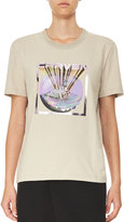 Carven Short-Sleeve Graphic Jersey Tee, Gray