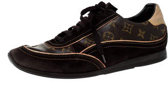 Louis Vuitton Brown Monogram Canvas and Suede Low Top Sneakers Size 43.5