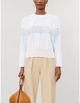 Sportmax Mondo striped cotton-blend knitted jumper