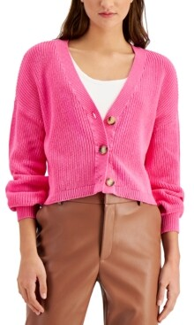 Bar III Cotton Cropped Drop-Shoulder Cardigan, Created for Macy's