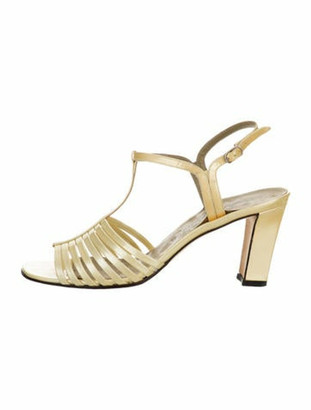 Saint Laurent Caged Ankle Strap Sandals Yellow