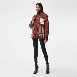 Burberry Contrast Pocket Check Cotton Flannel Overshirt