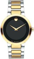 Movado 0607120 Modern Classic Black Dial Men's Two Tone Watch