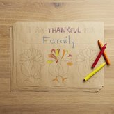 Crate & Barrel Cheerful Turkey Paper Placemats, Set of 12