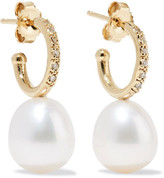 Mizuki 14-karat Gold, Freshwater Pearl And Diamond Earrings