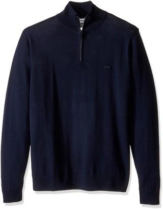 Lacoste Men's 100% Lambswool 1/4 Zip Sweater with Tonal Croc AH2989-51