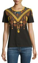 Etro Geometric-Print Short-Sleeve T-Shirt, Black/Gold