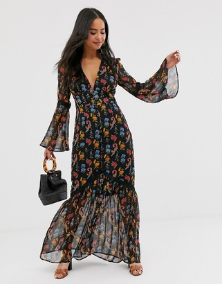 Glamorous plunge front maxi dress in wild floral-Black