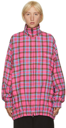 Balenciaga Pink Flannel Checkered Oversized Zip-Up Jacket