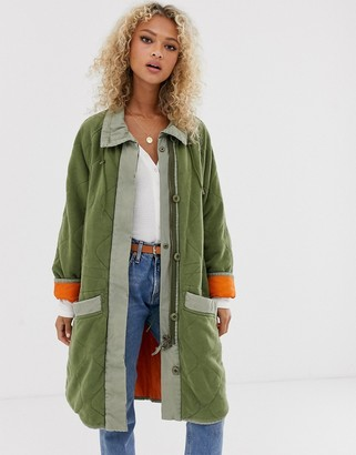 Free People Puffed Out quilted dolman jacket-Green
