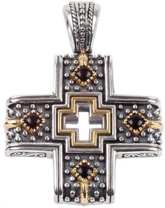 Konstantino Men's Sterling Silver/18k Gold Cross Pendant with Onyx