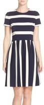 Eliza J Women's Stripe Knit Fit & Flare Dress