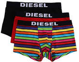 Diesel Rainbow Plain Stripe Trunks, Pack Of 3, Black/red/multi