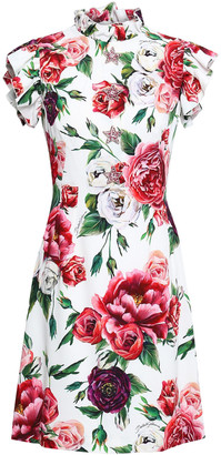 Dolce & Gabbana Ruffle-trimmed Embellished Floral-print Crepe Mini Dress