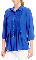 Investments Petites 3/4 Sleeve Pintuck Blouse