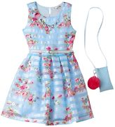 Knitworks Girls 7-16 Belted Floral Shadow Stripe Dress with Necklace & Crossbody Accessory Purse