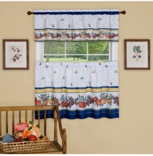 Achim Fruity Tiles Tier and Valance, Window Curtain Set, 58x36