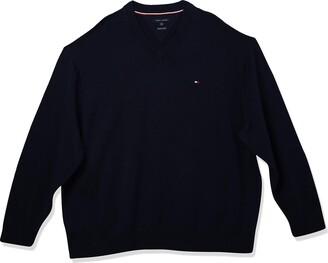 Tommy Sportswear Men's Tall Big & Tall Signature V-Neck Sweater -Asphalt Heather 5XL