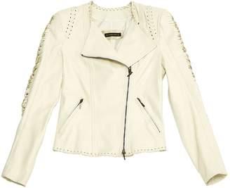 Plein Sud Jeans Ecru Leather Leather jackets