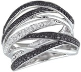 Effy Jewelry Effy Caviar 14K White Gold Black and White Diamond Ring, 0.74 TCW