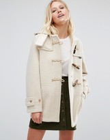 Gloverall Mid Monty Coat in Arctic White