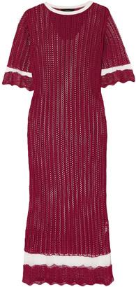 Joseph Mesh-paneled Pointelle-knit Midi Dress