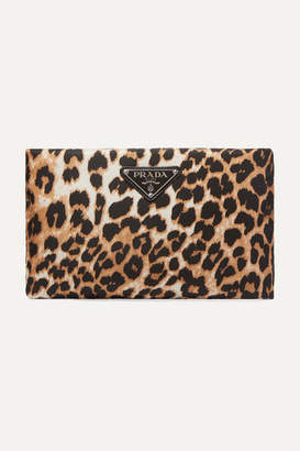 Prada Leather-trimmed Leopard-print Nylon Pouch - Brown