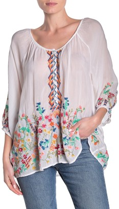 Johnny Was Sarah Floral Embroidered Blouse