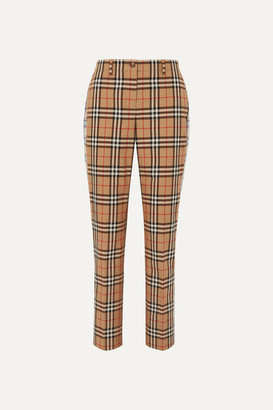 Burberry Checked Cotton-twill Straight-leg Pants - Beige