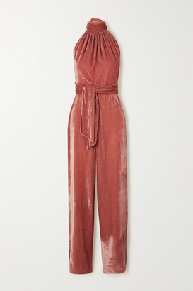 Harmur HARMUR - Belted Velvet Halterneck Jumpsuit - Pink
