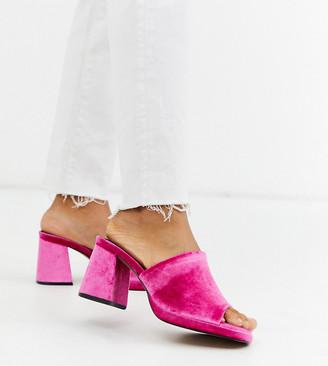 Asos Design DESIGN Wide Fit Warming platform heeled mules in magenta velvet-Pink
