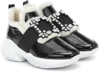 Roger Vivier Viv Run shearling-trimmed sneakers