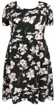 Yours Clothing YoursClothing Plus Size Womens Floral Print Skater Dress Pleated Skirt