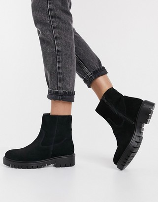 Rule London suede faux fur lined flat boots in black