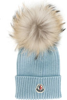 Moncler pom pom knitted hat - kids - Racoon Fur/Virgin Wool - 40 cm