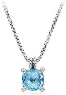 David Yurman Chatelaine? Pendant Necklace with Blue Topaz and Diamonds