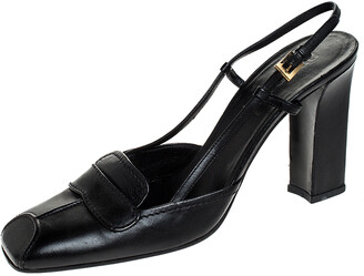 Prada Black Leather Square Toe Slingback Pumps Size 38