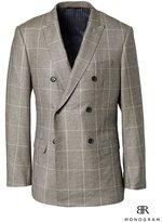Banana Republic Slim Monogram Brown Plaid Wool Double-Breasted Suit Jacket