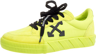 Off-White Off White Vulcanized Yellow Suede Leather And Canvas Low Top Sneakers Size 36